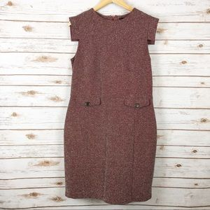 MNG by Mango Sheath Dress Red, Blk, Wht Speckles L
